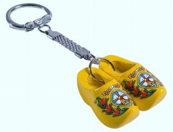 Keyring Double Woodenshoes Tulp/Windmill Yellow Decor